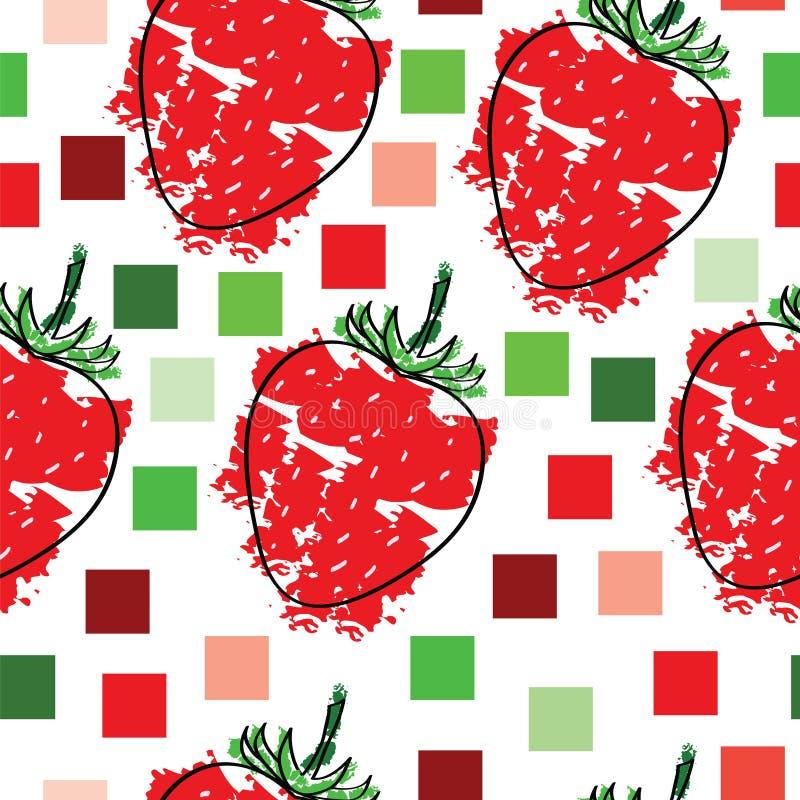 Modèle tileable sans couture avec le vecteur et les places de fraises illustration stock