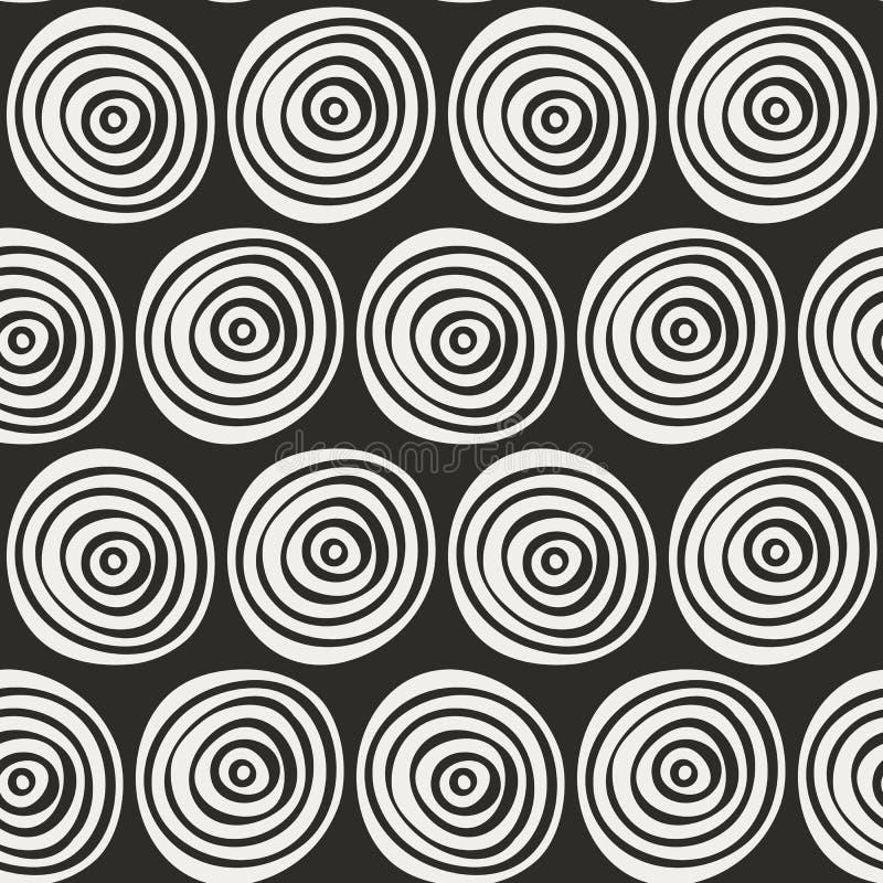 Modèle tiré par la main élégant sans couture Illustration de vecteur avec les cercles concentriques illustration stock