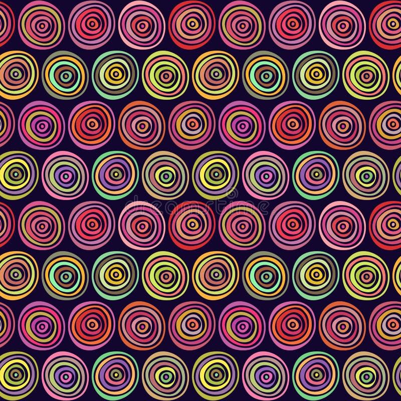 Modèle tiré par la main élégant sans couture Illustration de vecteur avec les cercles concentriques illustration libre de droits
