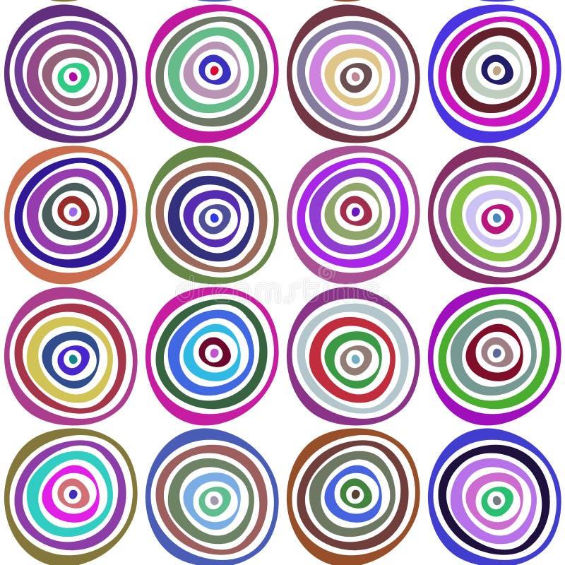 Modèle tiré par la main élégant sans couture Illustration de vecteur avec les cercles concentriques illustration de vecteur