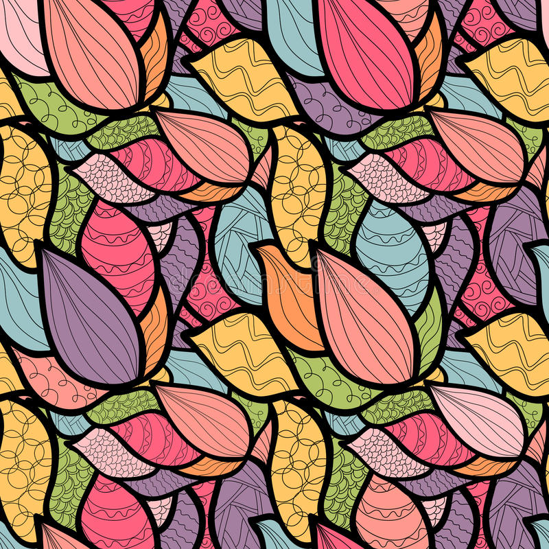 Modèle tiré par la main abstrait avec des vagues Squ unique de livre de coloriage illustration libre de droits