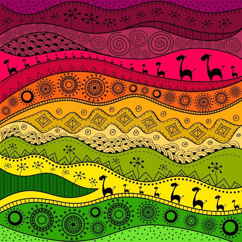 Modèle tiré par la main africain d'ethno, fond tribal Il peut être employé pour le papier peint, la page Web et d'autres Illustra illustration de vecteur