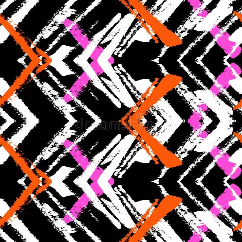 Modèle tiré par la main avec la ligne balayée de zigzag. illustration stock