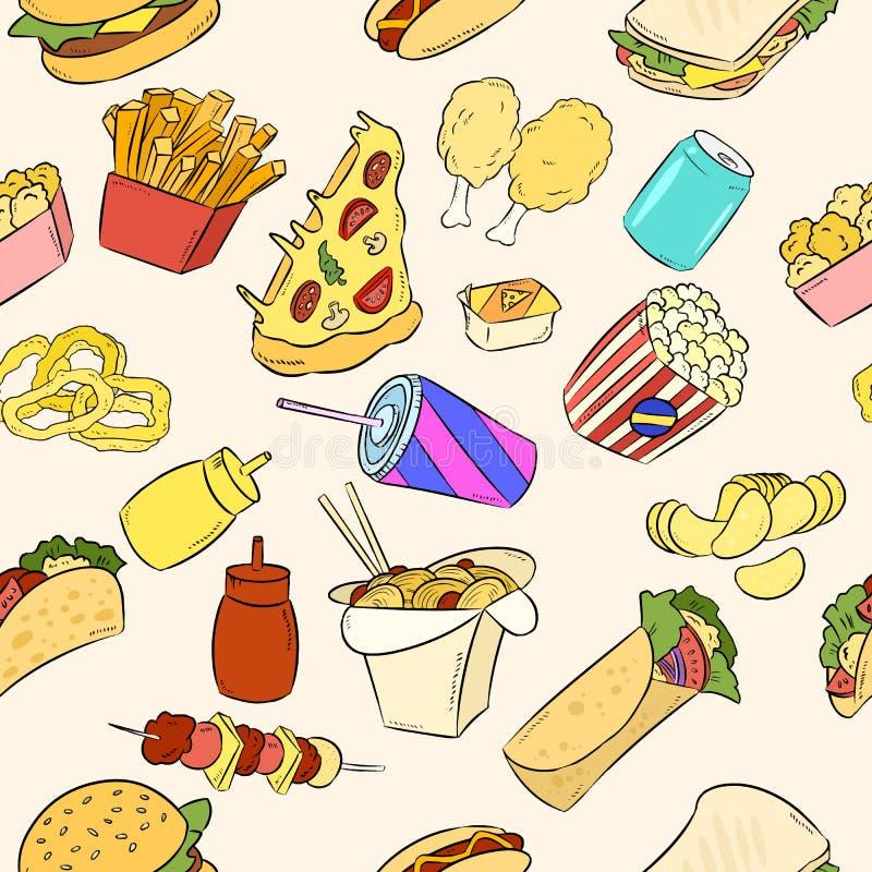 Modèle tiré par la main d'éléments d'aliments de préparation rapide Illustration de vecteur illustration de vecteur