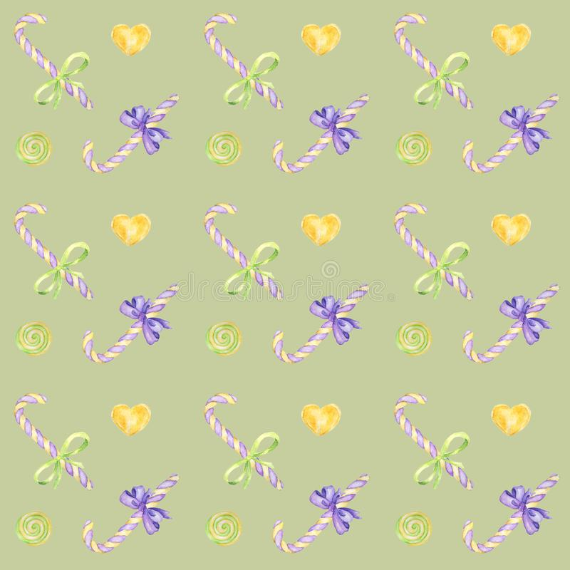 Modèle tiré par la main d'aquarelle de friandise, lucette et couleurs lumineuses d'arc - pourpres, papier vert et jaune d'album s illustration stock