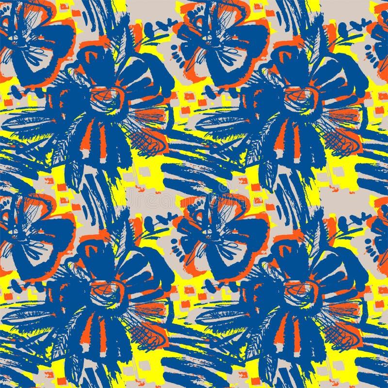 Modèle tiré par la main d'encre florale abstraite sans couture illustration de vecteur