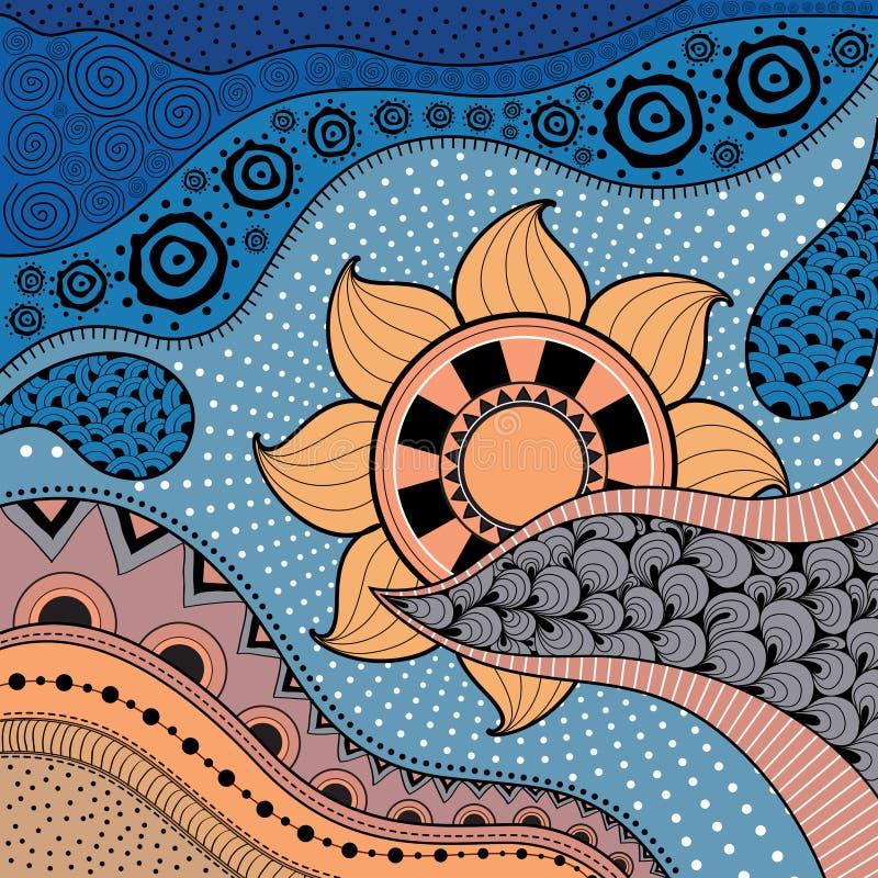 Modèle tiré par la main d'ethno, fond tribal Il peut être employé pour le papier peint, la page Web, les sacs, la copie et d'autr illustration stock