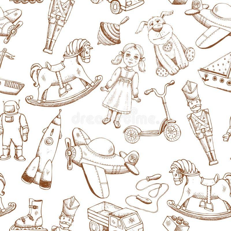 Modèle tiré par la main de jouets de vintage illustration stock
