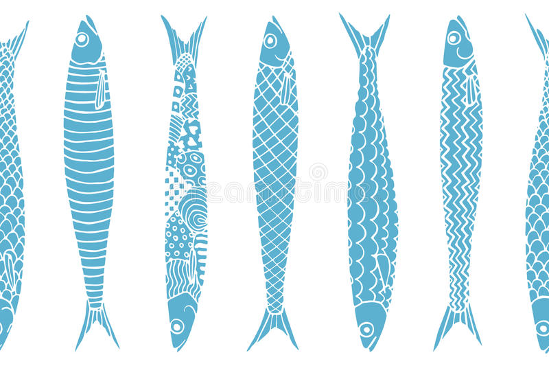Modèle tiré par la main de sardines illustration de vecteur