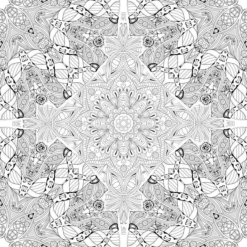 Modèle tiré par la main de seamleaa de zentangle pour la page de coloration illustration libre de droits