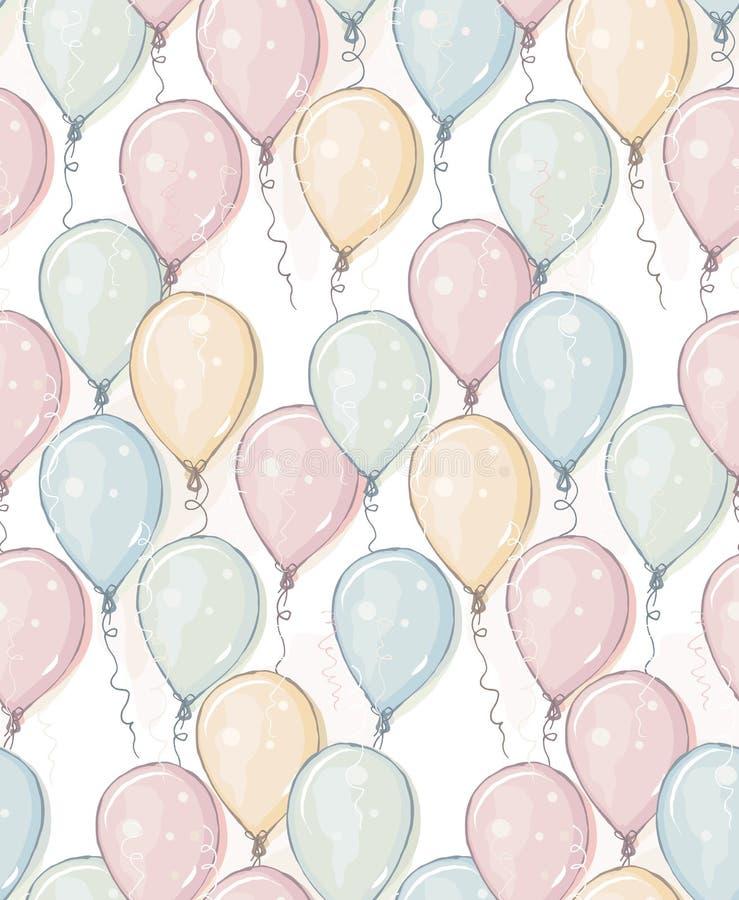 Modèle tiré par la main de vecteur de ballons Seul arbre congelé Conception de style d'aquarelle Ballons de vol Boule rose, bleue illustration de vecteur
