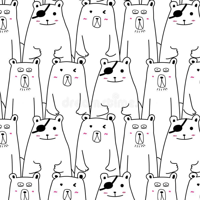 Modèle tiré par la main de vecteur d'ours Art de griffonnage illustration libre de droits