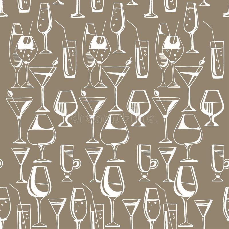 Modèle tiré par la main des boissons et des cocktails d'alcool Illustration de vecteur illustration libre de droits