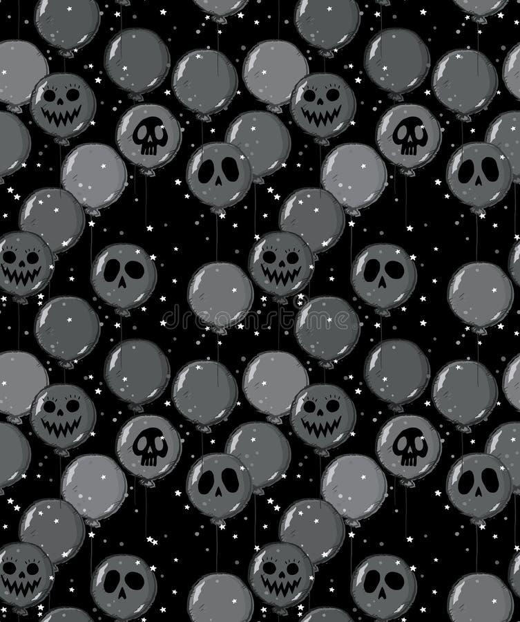 Modèle tiré par la main drôle de vecteur de Halloween Grey Balloons foncé effrayant avec Ghost fait face illustration de vecteur