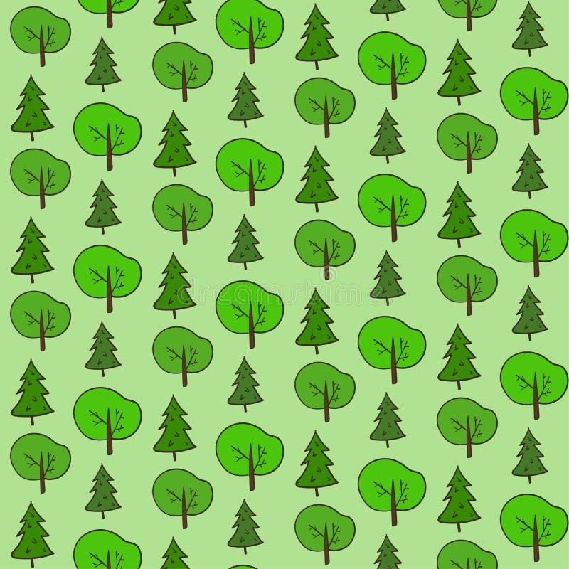 Modèle tiré par la main mignon de forêt illustration stock