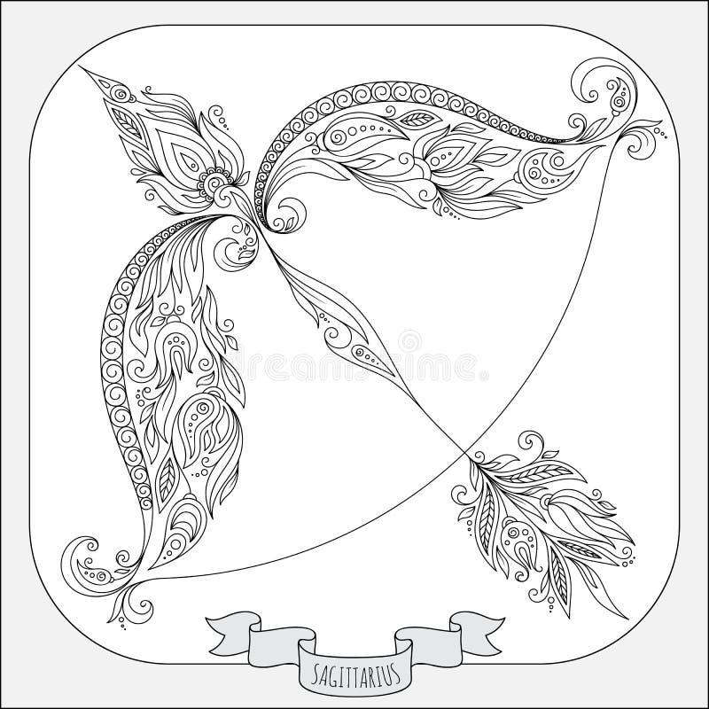Modèle tiré par la main pour le Sagittaire de zodiaque de livre de coloriage illustration libre de droits