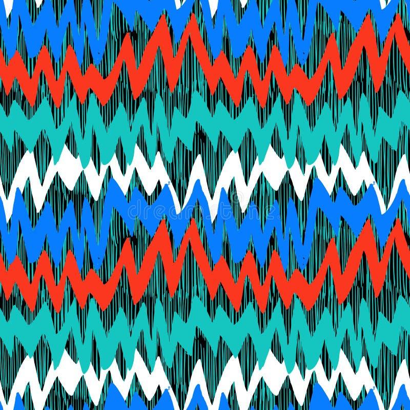 Modèle tiré par la main rayé avec des lignes de zigzag illustration de vecteur