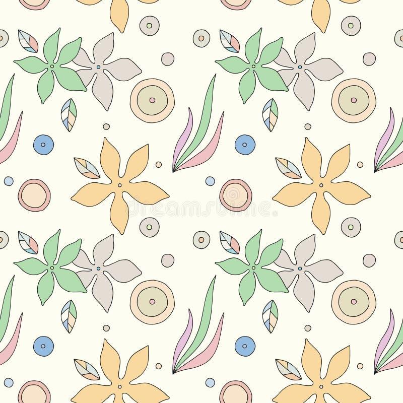 Modèle tiré par la main sans couture avec les éléments décoratifs, fleurs, feuilles points Fond coloré, illustration graphique, g illustration stock