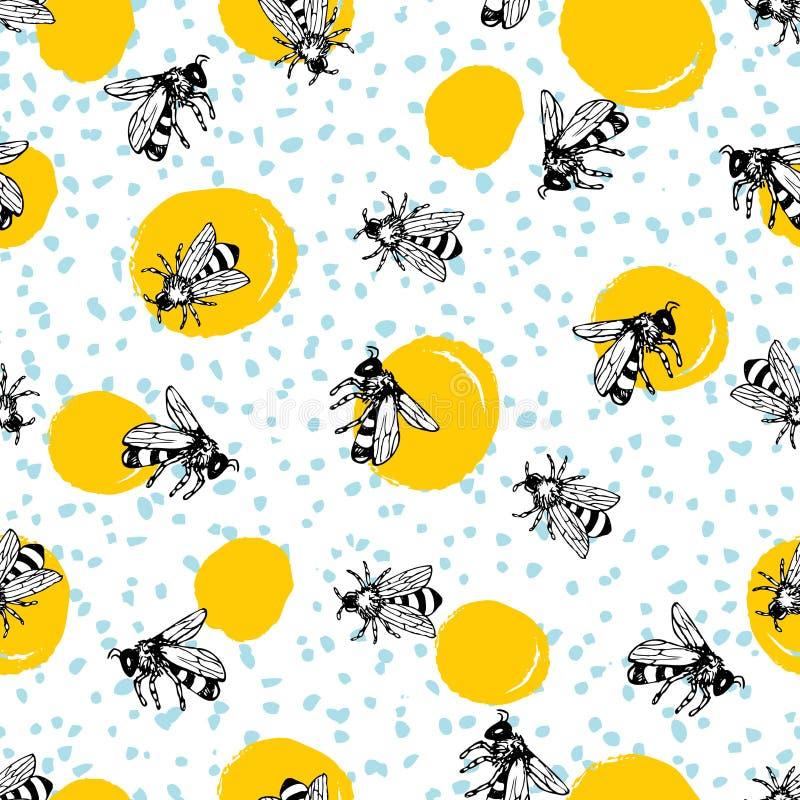 Modèle tiré par la main sans couture d'abeille de miel de vecteur illustration libre de droits