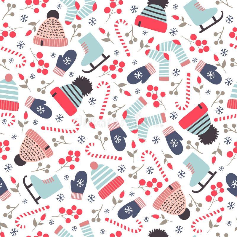 Modèle tiré par la main sans couture d'hiver avec les chapeaux tricotés, chaussettes et illustration libre de droits