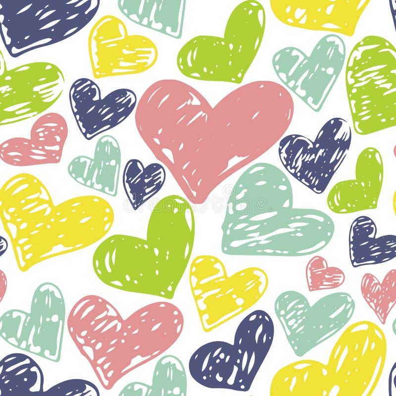 Modèle tiré par la main sans couture de coeurs Conception colorée d'encre pour le T-shirt, robe, tissus illustration stock