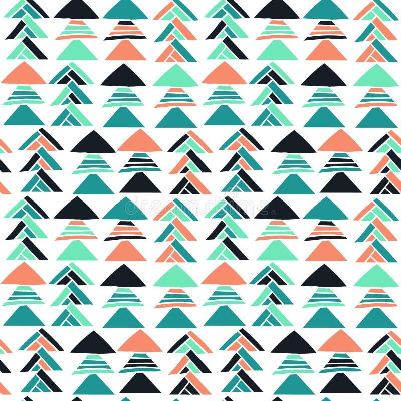 Modèle tiré par la main sans couture géométrique abstrait avec des motifs tribals Texture moderne Fond coloré de carte blanche illustration libre de droits