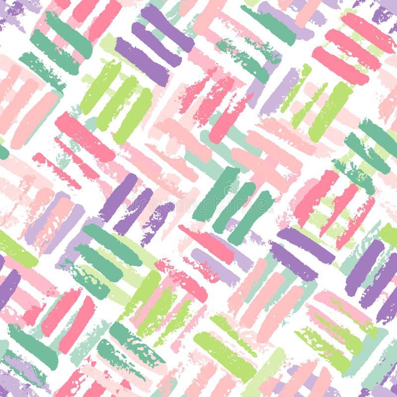 Modèle tiré par la main sans couture géométrique abstrait Texture grunge moderne Fond peint par brosse colorée illustration de vecteur