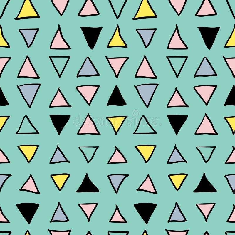 Modèle tiré par la main sans couture géométrique abstrait Texture moderne de carte blanche Fond géométrique coloré de griffonnage illustration de vecteur