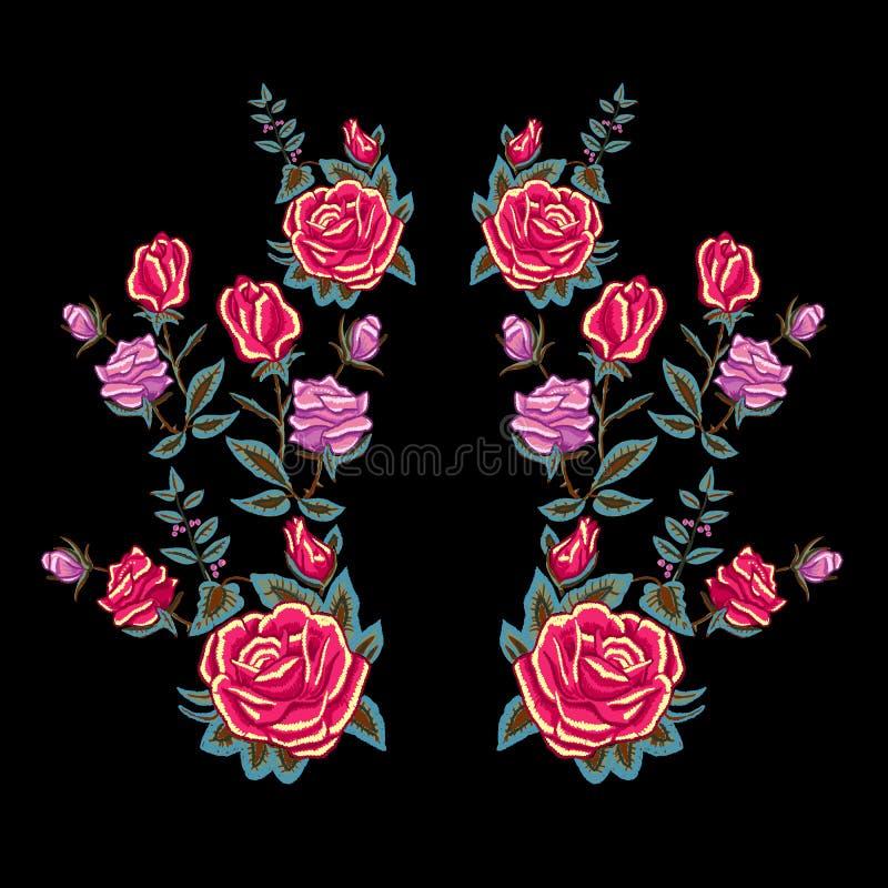 Modèle traditionnel d'encolure de broderie avec les roses rouges illustration de vecteur