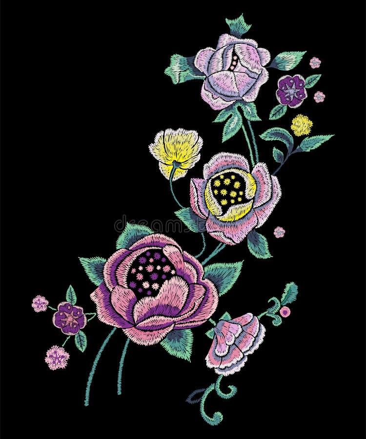 Modèle traditionnel de broderie avec les roses pâles illustration libre de droits