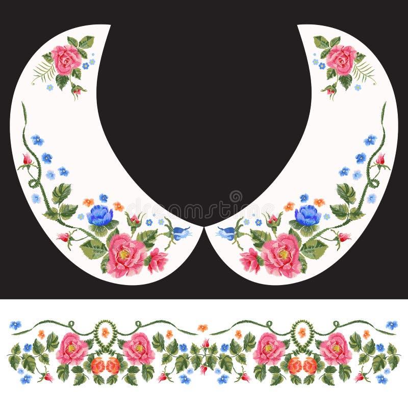 Modèle traditionnel de cou de broderie avec les roses rouges et bleues illustration de vecteur