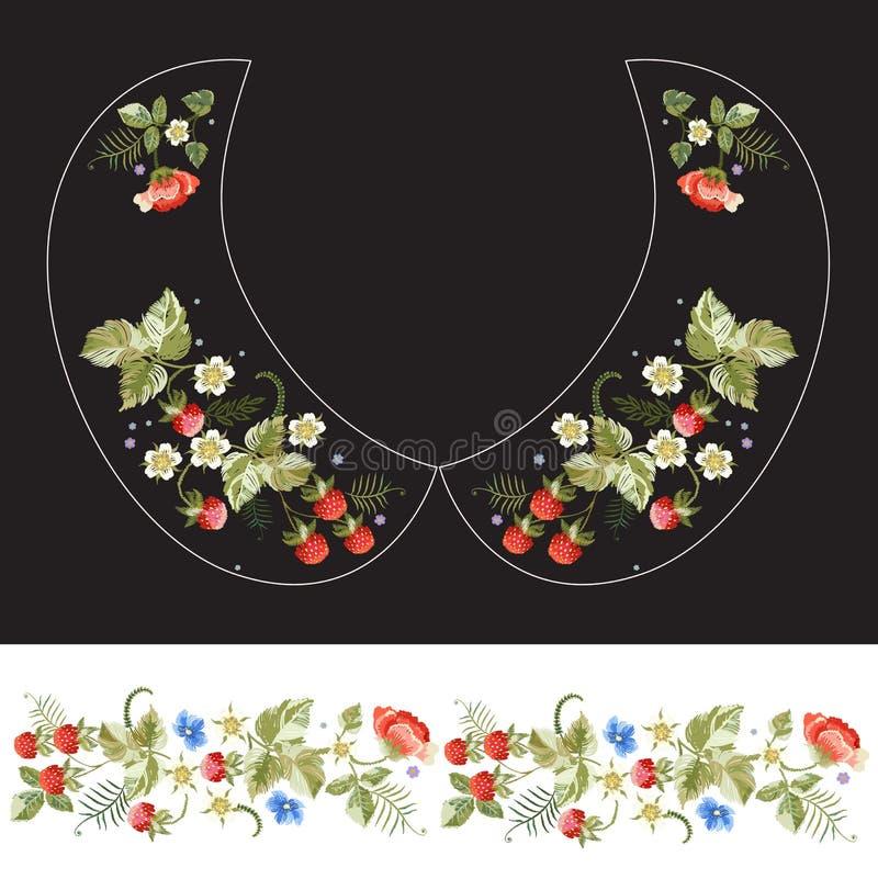 Modèle traditionnel de cou de broderie pour le collier avec les fraises et la fleur illustration libre de droits