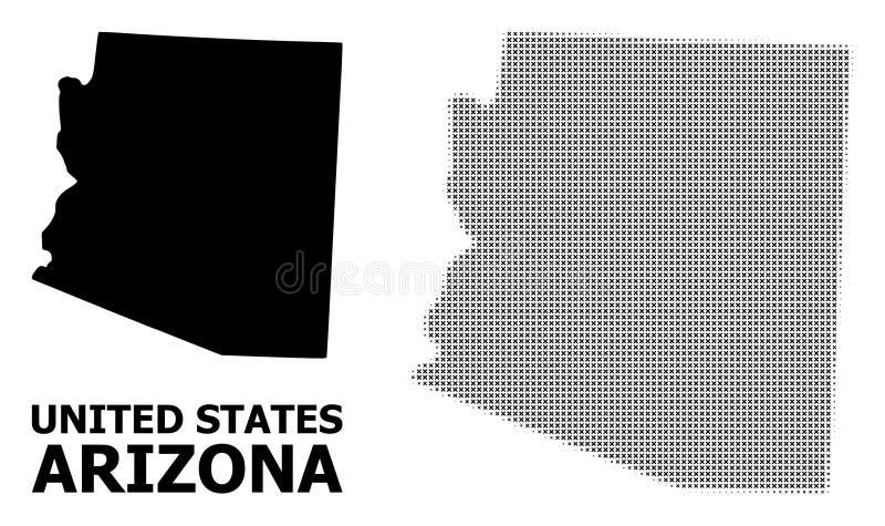 Modèle tramé de vecteur et carte solide d'état de l'Arizona illustration stock