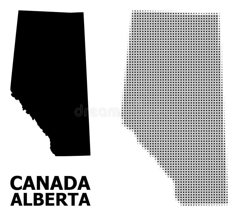 Modèle tramé de vecteur et carte solide d'Alberta Province illustration libre de droits