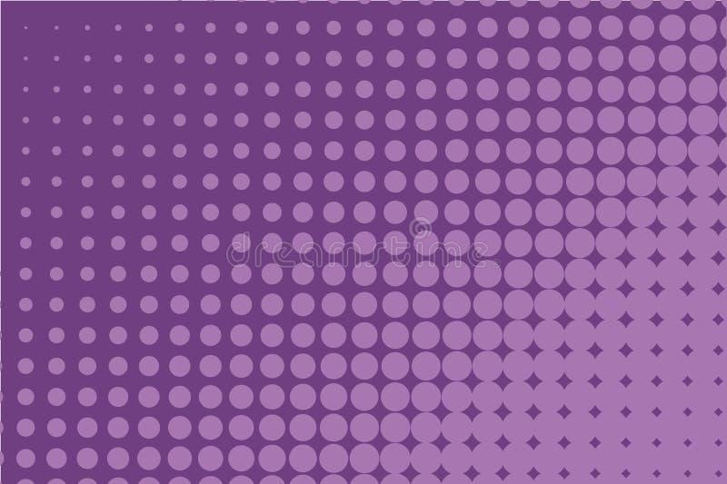 Modèle tramé monochrome abstrait Fond comique Contexte pointillé avec des cercles, points, point Pourpre, couleur lilas illustration libre de droits