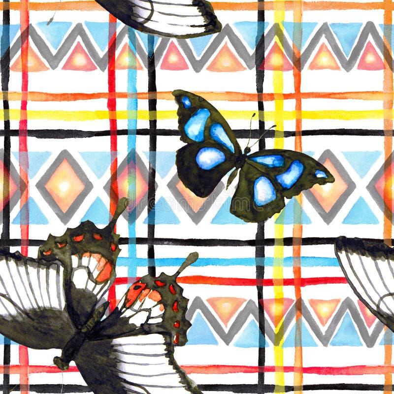 Modèle tribal avec des papillons Modèle sans couture - ornement ethnique watercolor image libre de droits