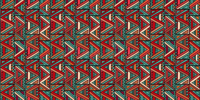 Modèle tribal avec la conception faite main sans couture de dessin ethnique coloré de triangle illustration de vecteur