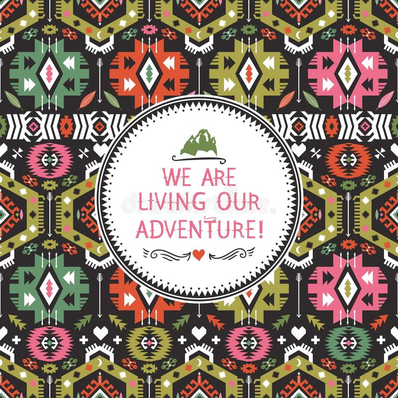 Modèle tribal coloré sans couture de hippie avec illustration de vecteur