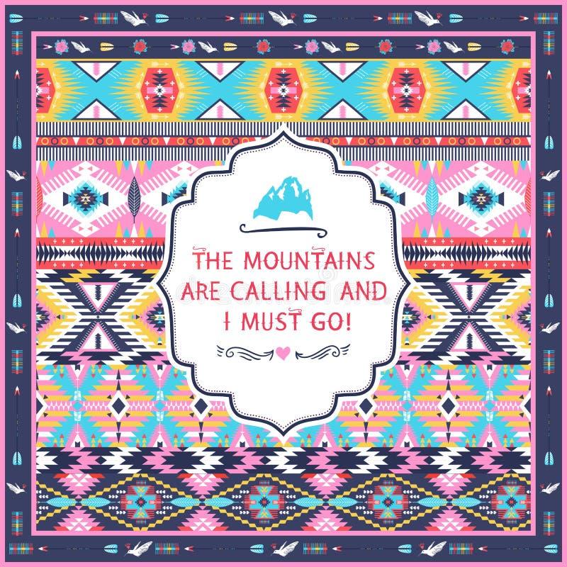 Modèle tribal coloré sans couture de Navajo avec des citations sur des labels illustration de vecteur