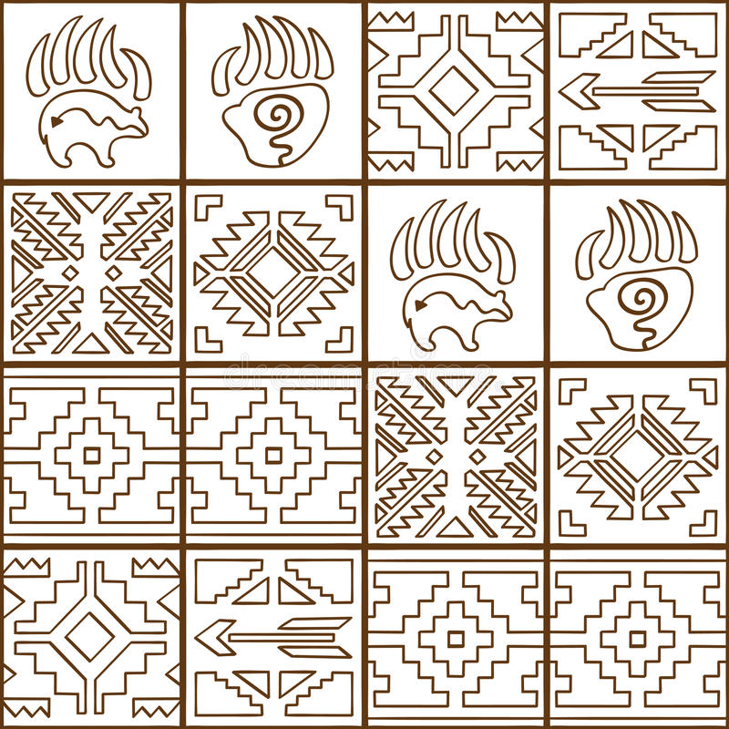 Modèle tribal coloré sans couture de Navajo Ligne art de vecteur illustration stock