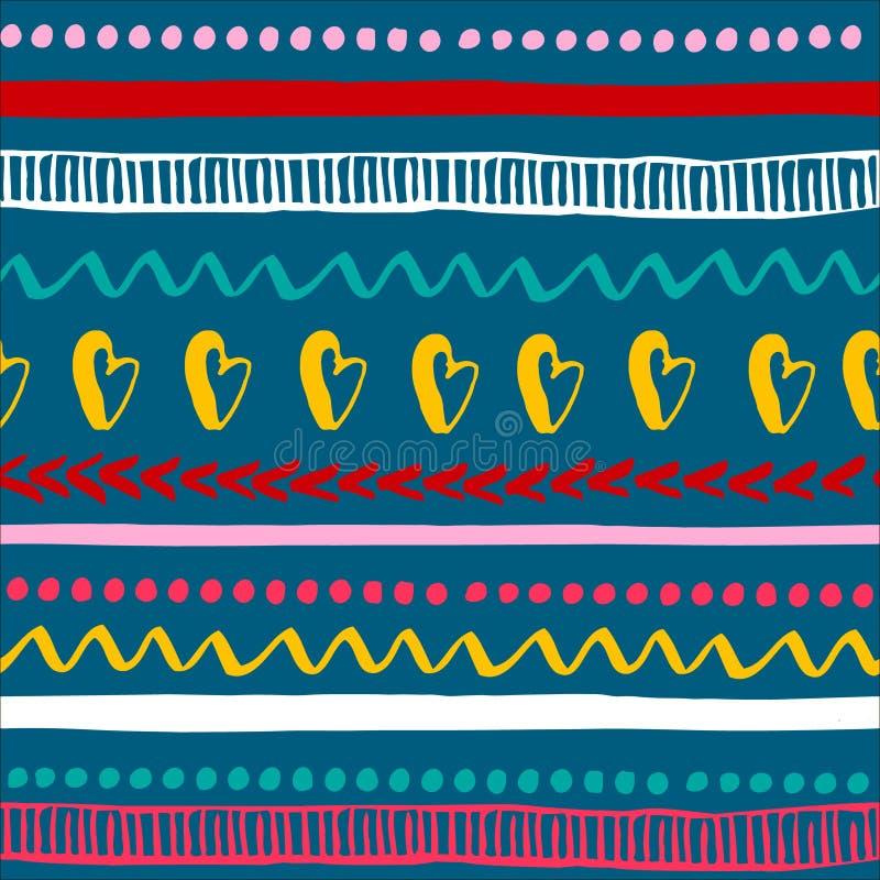 Modèle tribal coloré sans couture Texture ethnique tirée par la main à la mode Illustration de vecteur illustration de vecteur