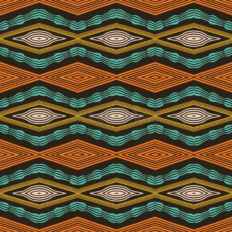 Mod?le tribal de diamants d'Africain tir? par la main color? Fond sans couture de textile de vecteur Vague horizontale tir?e par  illustration de vecteur