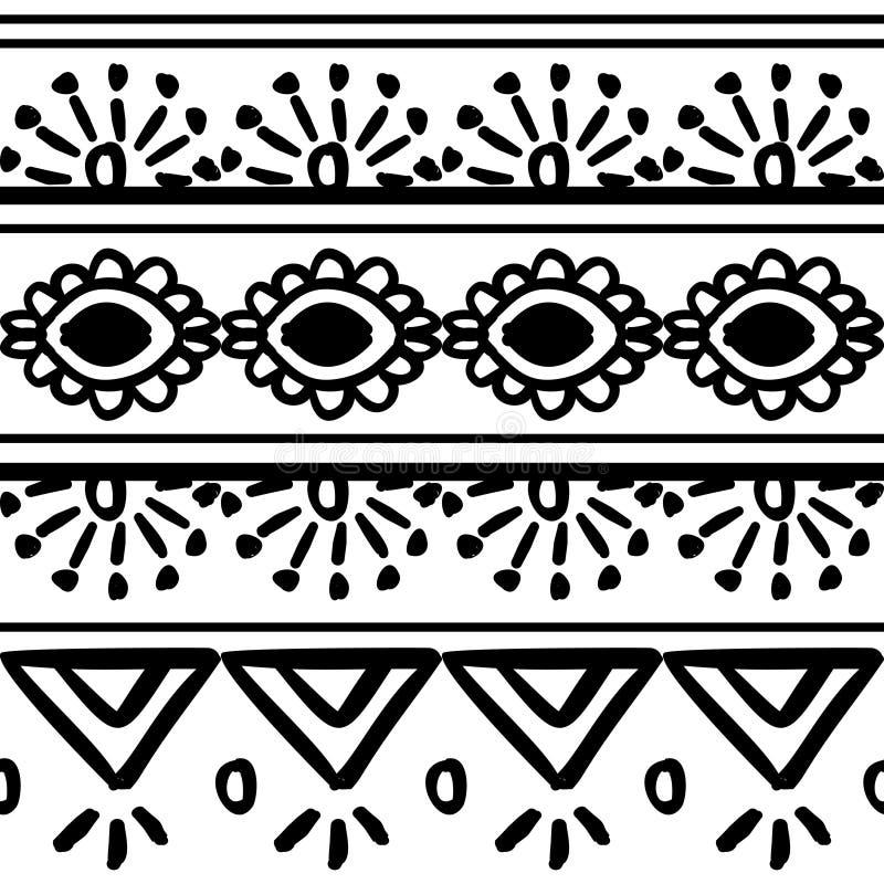Mod?le tribal de vecteur avec l'ornement tir? par la main noir et blanc Bon pour votre emballage et copie de mode de textile illustration libre de droits