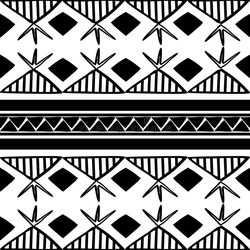 Mod?le tribal de vecteur avec la culture dessinant le style de Boh?me en noir et blanc Bon pour votre emballage et copie de mode  illustration de vecteur