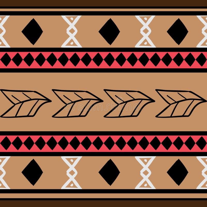 Mod?le tribal de vecteur avec le fond color? ethnique tir? par la main d'art de Maya Bon pour votre emballage et copie de mode de illustration de vecteur