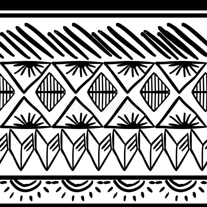 Mod?le tribal de vecteur avec noir et blanc tir? par la main Bon pour votre emballage et copie de mode de textile illustration stock