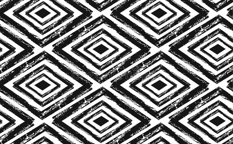 Modèle tribal sans couture tiré par la main en noir et crème Textile moderne, art de mur, papier d'emballage, conception de papie illustration libre de droits