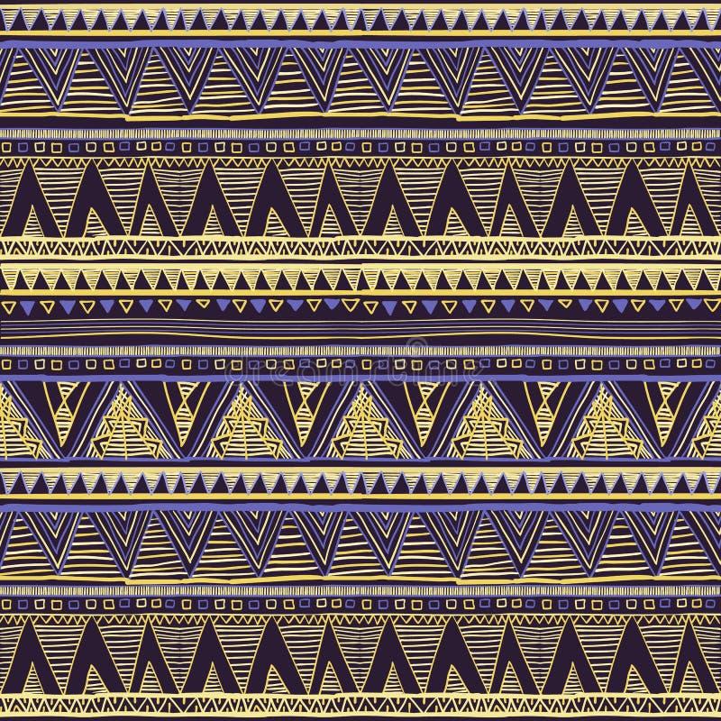 Modèle tricoté géométrique ethnique sans couture Vecteur de fond de Violet Yellow Blue Horizontal Seamless illustration de vecteur