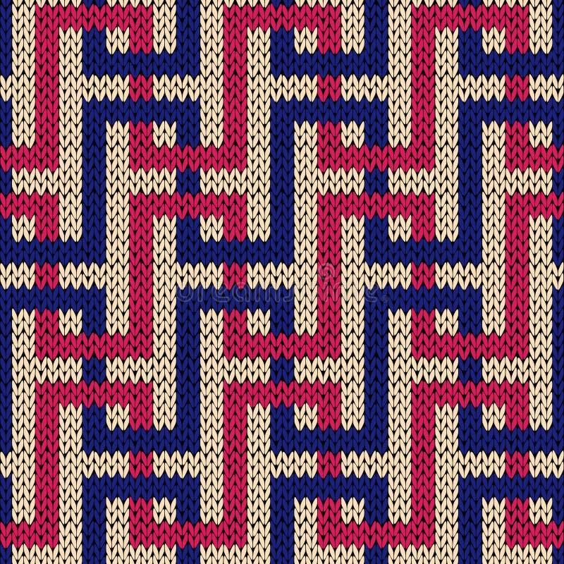 Modèle tricoté sans couture avec des lignes d'entrelacement illustration libre de droits