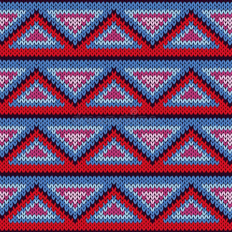 Modèle tricoté sans couture avec l'ornement de triangle illustration de vecteur